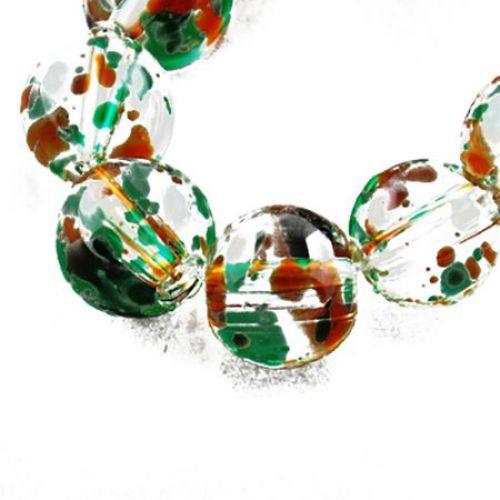Șirag de mărgele  de sticlă 10 mm gaură 1 mm transparent multicolor ~ 82 bucăți