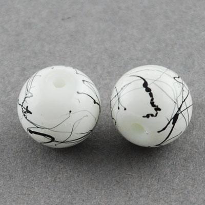 Șirag de mărgele  sticla  8mm Gaură 1,3 ~ 1,6mm Vopsit alb și negru ~ 80cm ~ 100 Bucăți
