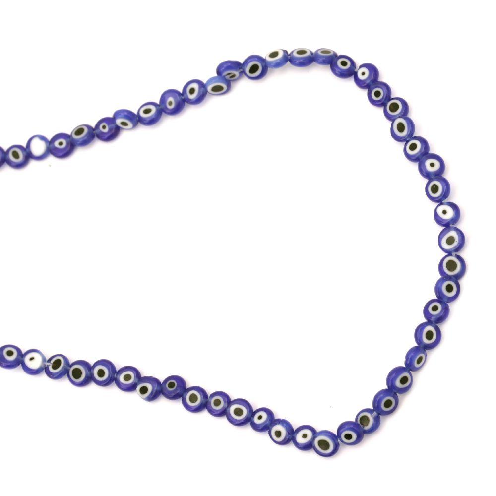 Наниз мъниста стъкло Лампуорк паричка 6x3 мм дупка 1 мм синьо око ~68 броя