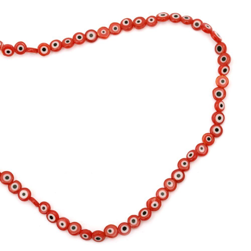 Наниз мъниста стъкло Лампуорк паричка 6x3 мм дупка 1 мм цвят червена ~68 броя