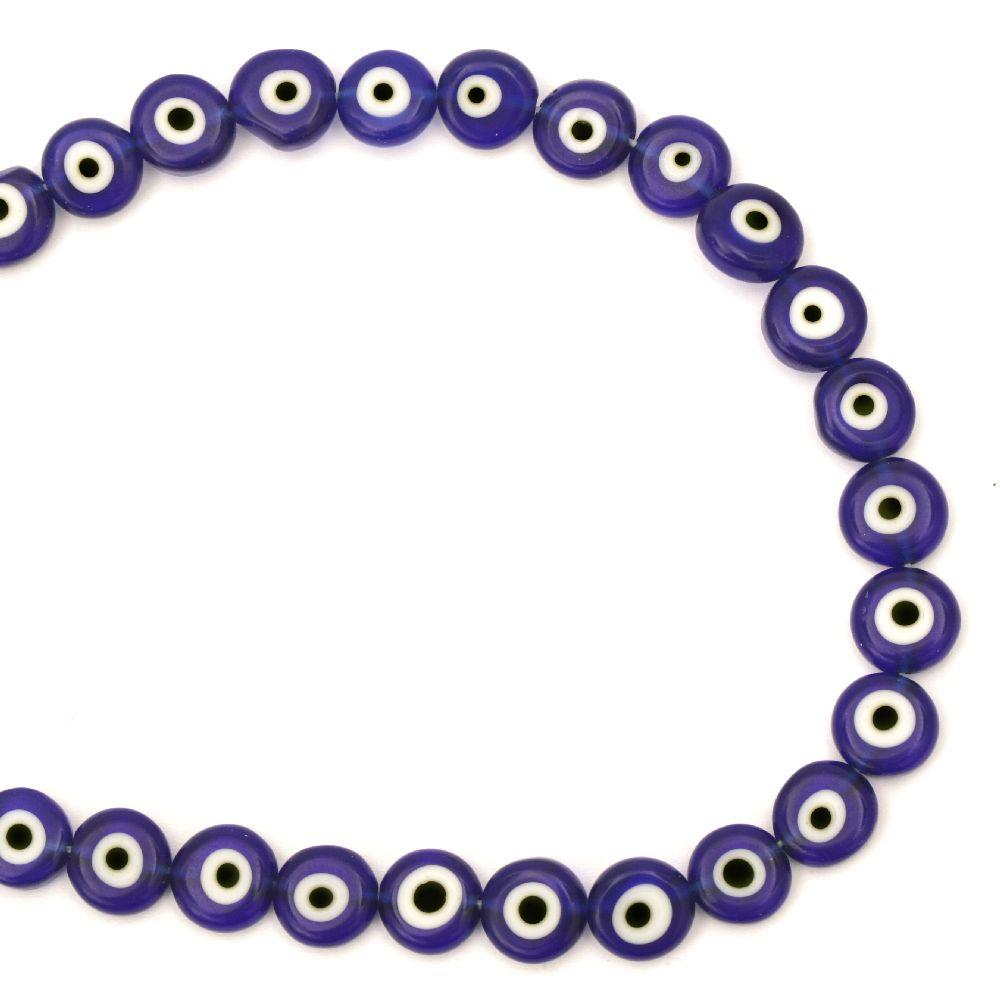 Наниз мъниста стъкло Лампуорк паричка 10x4 мм дупка 1 мм синьо око ~38 броя