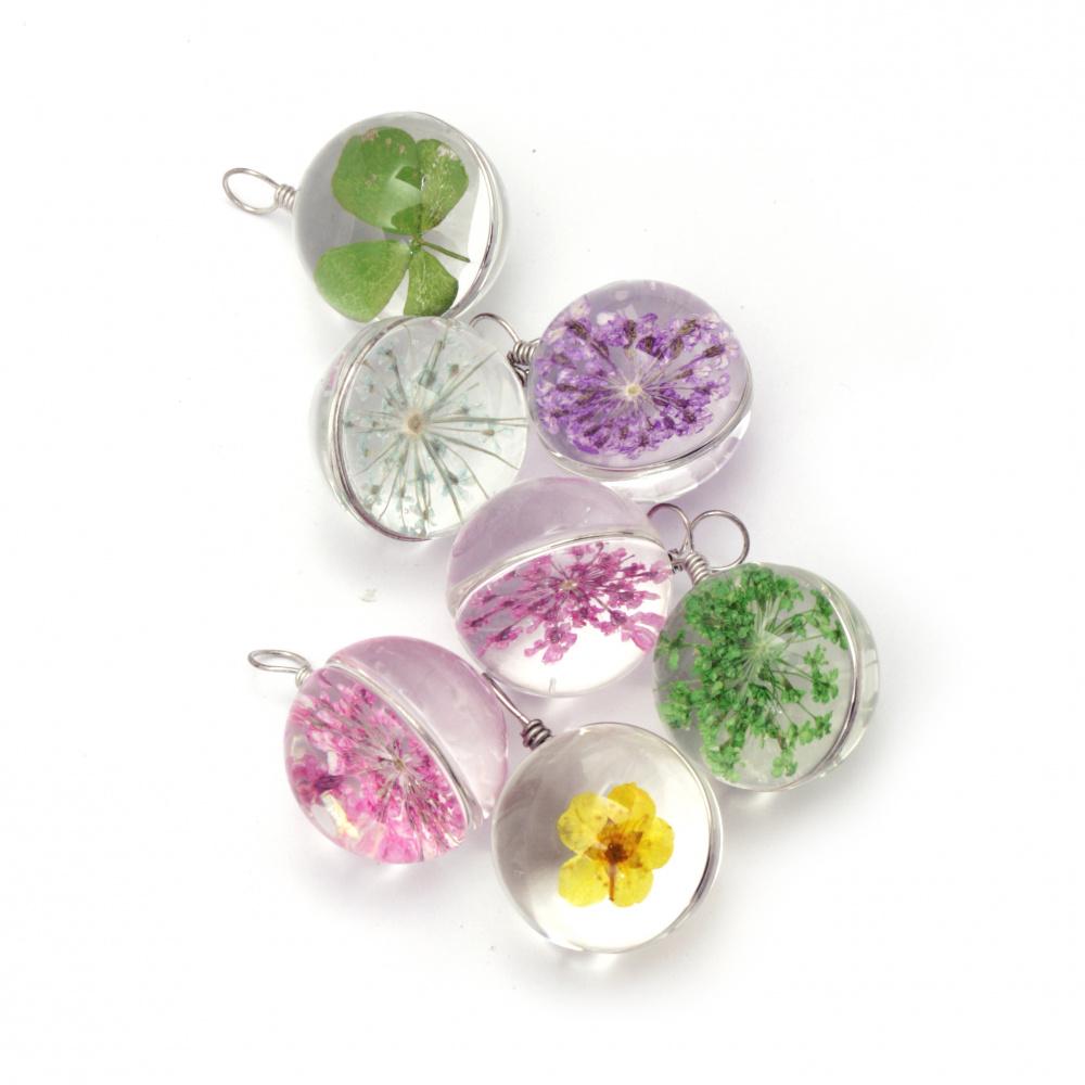 Висулка стъкло с вградени естествени цветя 28x20 мм микс