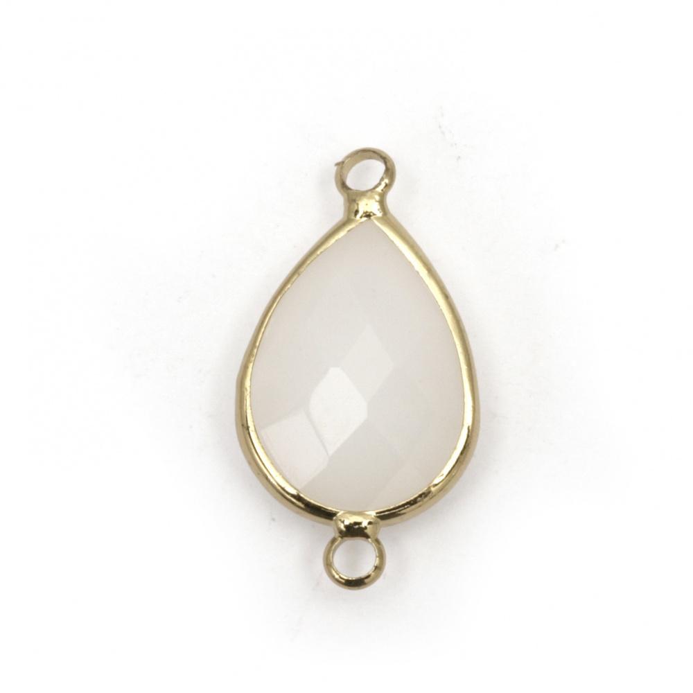 Свързващ елемент стъкло имитация Сваровски с метален обков капка фасет 26x14x6 мм бял
