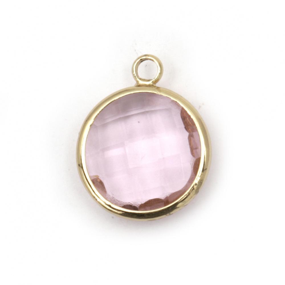 Висулка стъкло имитация Сваровски с метален обков кръг фасет 22x15x6 мм розова