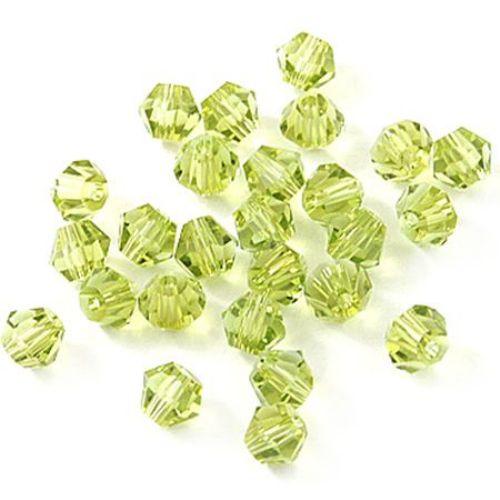Crystal  beads, 4mm, size hole 1mm, Swarovski imitation, yellow  rainbow -24 pcs