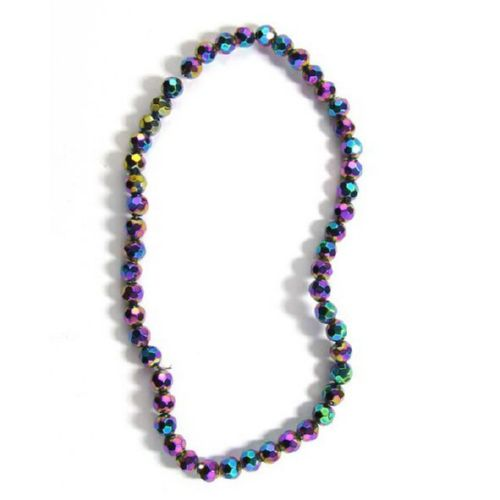 Șir de mărgele de cristal cu perete multiplu 6mm Gaura 1mm Multicolor -55 bucăți