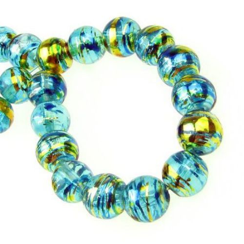Наниз мъниста стъкло топче 8 мм дупка 2 мм рисувано тюркоаз/злато ~110 броя