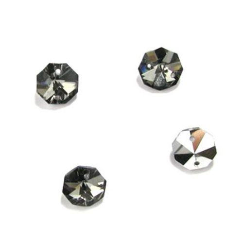 Stone crystal for sewing 14x14x7 mm hole 1.5 mm octagon dark gray - 4 pieces
