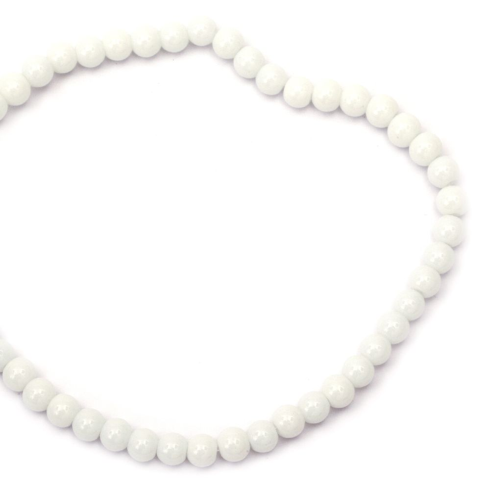 Στρόγγυλη γυάλινη χάντρα 6 mm τρύπα 1 mm λευκό ~ 50 τεμάχια