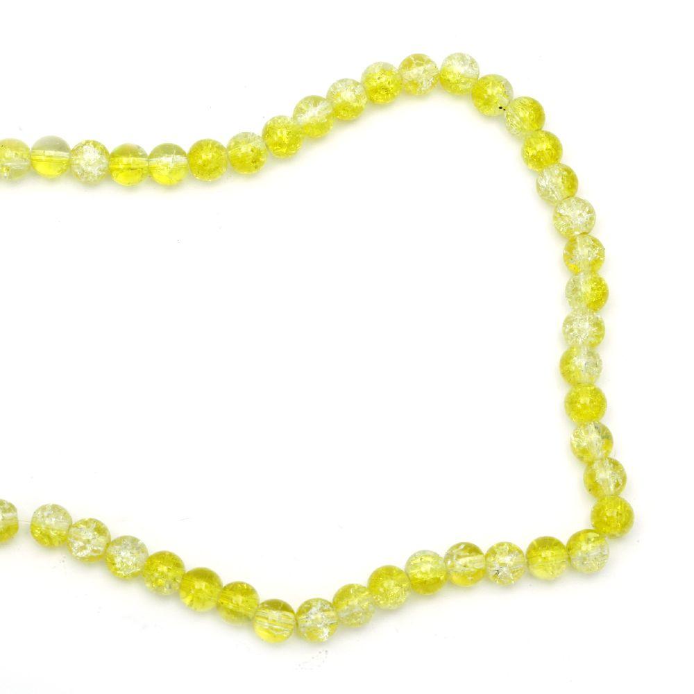 Наниз мъниста стъкло КРАКЪЛ топче 8 мм дупка 1.3~1.6 мм прозрачен/жълт ~ 100 броя