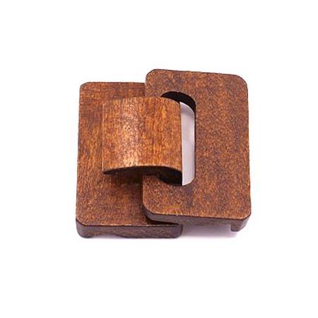 Закопчалка дървена за чанти и колани 46x48x18 мм дупки 2 мм цвят кафяв