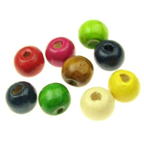 Wooden round bead for decoration 9x10 mm hole 3.5 mm mixed colors - 50 grams ~ 150 pieces