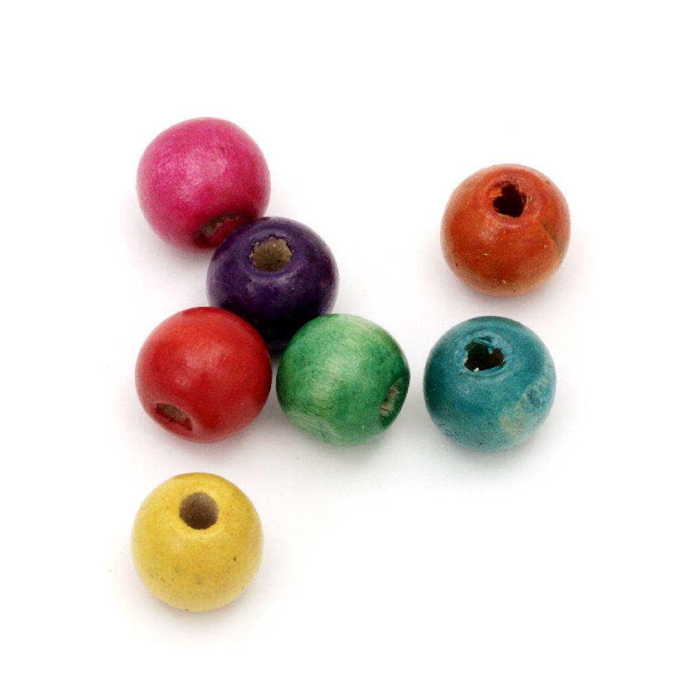 Мънисто дърво топче 11x12 мм дупка 4 мм МИКС -50 грама ~95 броя