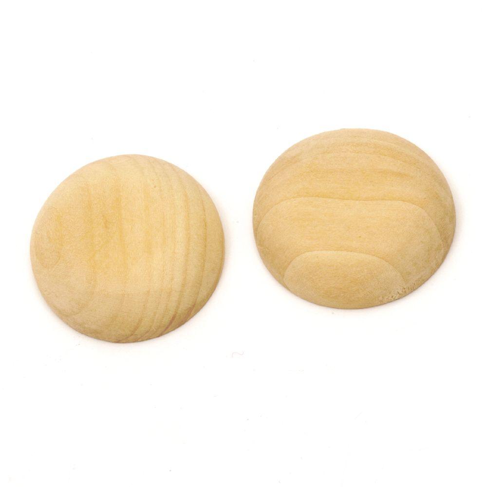 Κύκλος ξύλινος τύπου cabochon 40x10,5 mm χρώμα ξύλου -2 τεμάχια