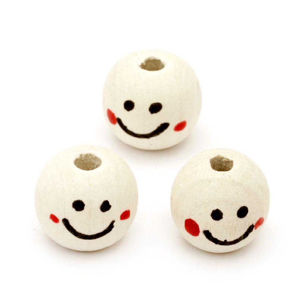 Κεφάλι με χαμόγελο, στρόγγυλο, χάντρα, ξύλο 16x18mm Χρώμα Ξύλου -20 τεμάχια