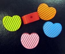 Mărgele de lemn forma  inimă 16x19x8 mm MIX -20 grame 19 buc
