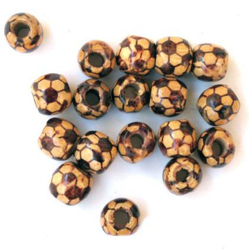 Μπάλα ξύλινη χάντρα 13x12 mm τρύπα 3 ~ 4 mm καφέ -20 γραμμάρια ~ 36 τεμάχια