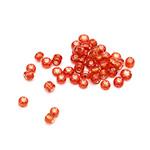 Мъниста стъклена 2 мм сребърна нишка червена -50 грама