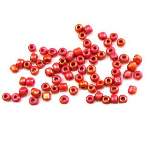 Perle de sticlă de 4 mm arc solid roșu -50 grame