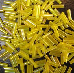 Margele de sticlă forma betisoare de 7 mm galben transparent -50 grame