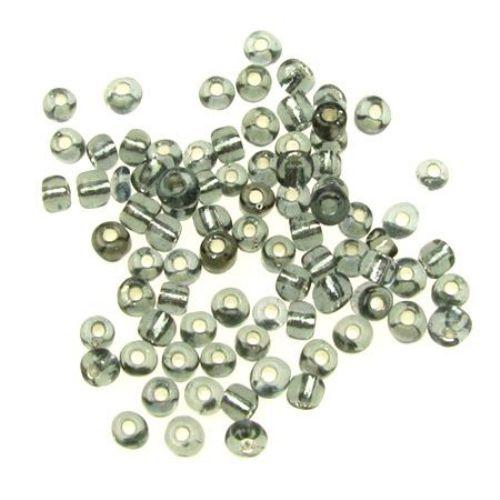 Мъниста стъклена 4 мм сребърна нишка сива -50 грама
