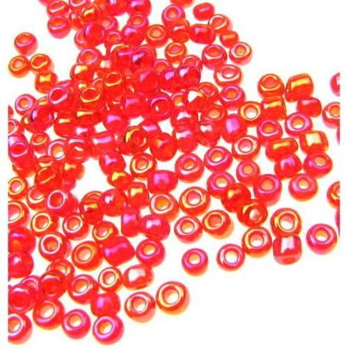 Мъниста стъклена 3 мм прозрачна дъга червена -50 грама