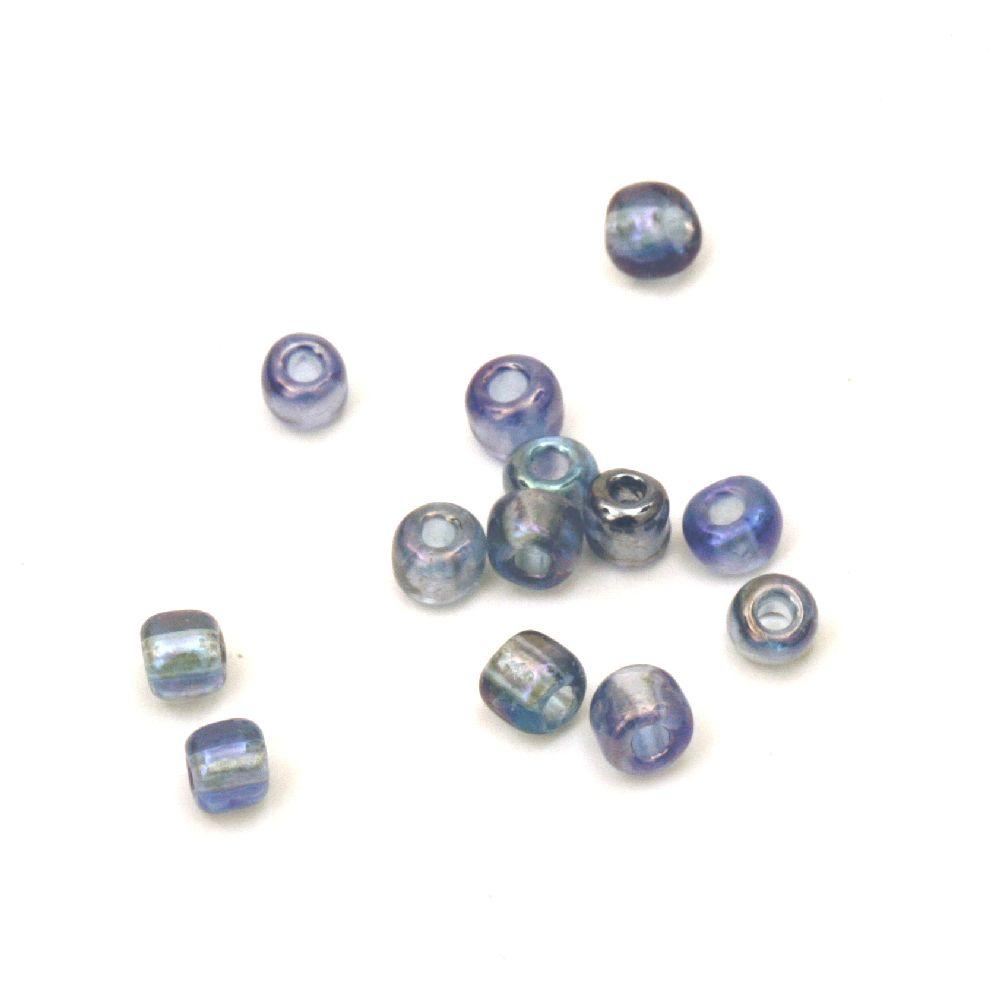 Мъниста стъклена 4 мм прозрачна дъга синя 2 -50 грама