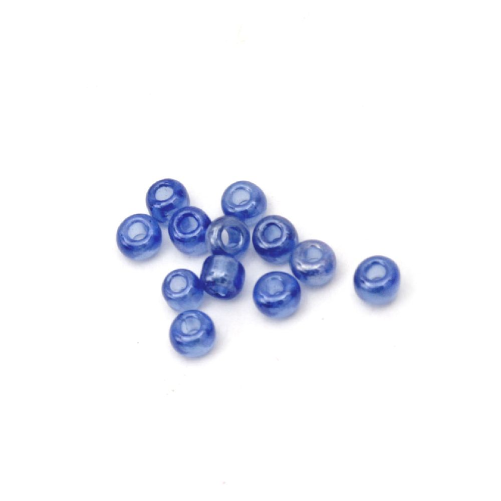 Мъниста стъклена 3 мм прозрачна перлена тъмно синя -50 грама