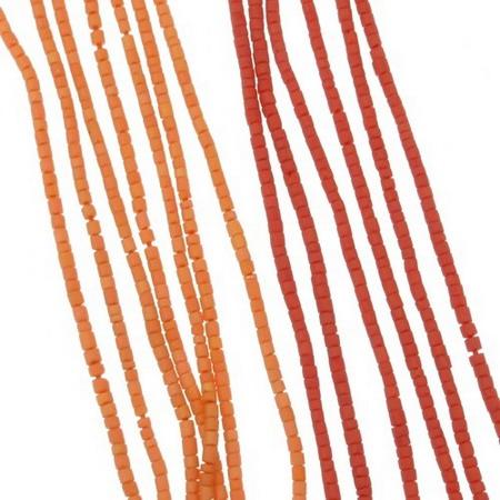 Мъниста стъклена пръчица 2 мм плътна матирана АСОРТЕ оранжева Афганистан - 1 връзка ~ 30 см
