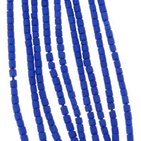 Мъниста стъклена пръчица 2 мм плътна матирана синя тъмно Афганистан - 1 връзка ~ 30 см