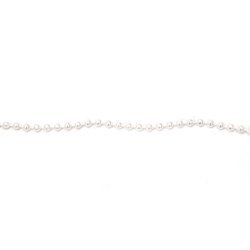 Γιρλάντα με  πλαστικές  πέρλες λευκό 4 mm - 1 μέτρο
