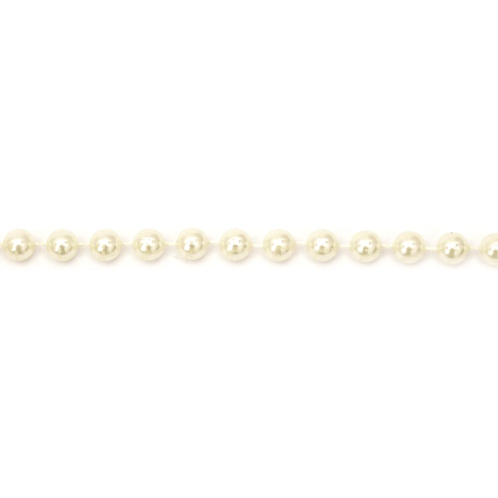 Decoration with plastic pearl 8 mm cream color - 1 meter 10 mm cream color - 1 meter