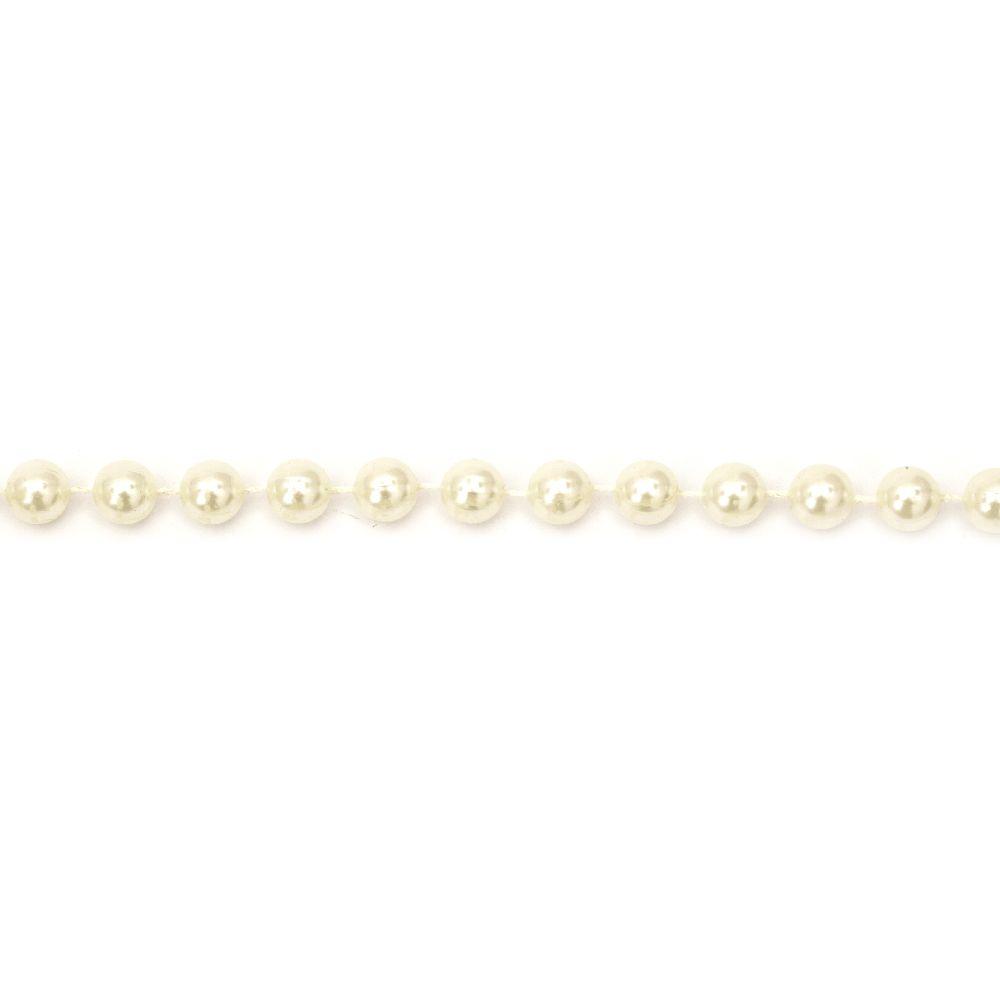 Ghirlandă cu plastic perla  perlat culoare 10 mm crem - 1 metru