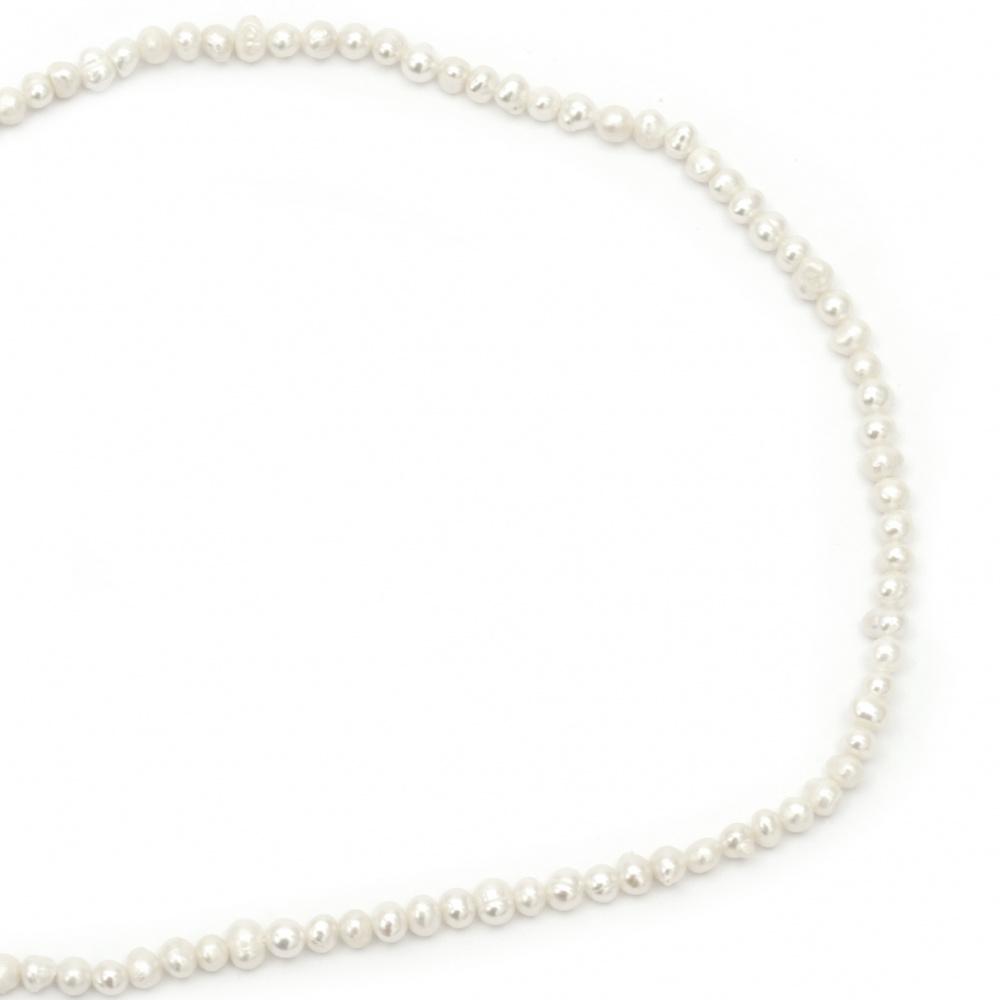 Наниз мъниста естествена перла 3~4 мм дупка 0.5 мм цвят крем ~87 броя