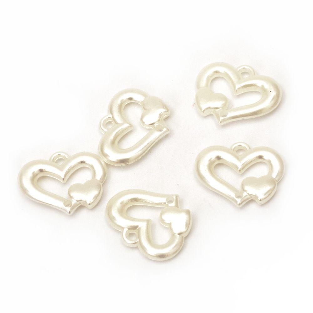 Element de cuplare perla inimă 25x20x4,5 mm găuri x 2 mm crem -20 grame ~ 24 buc