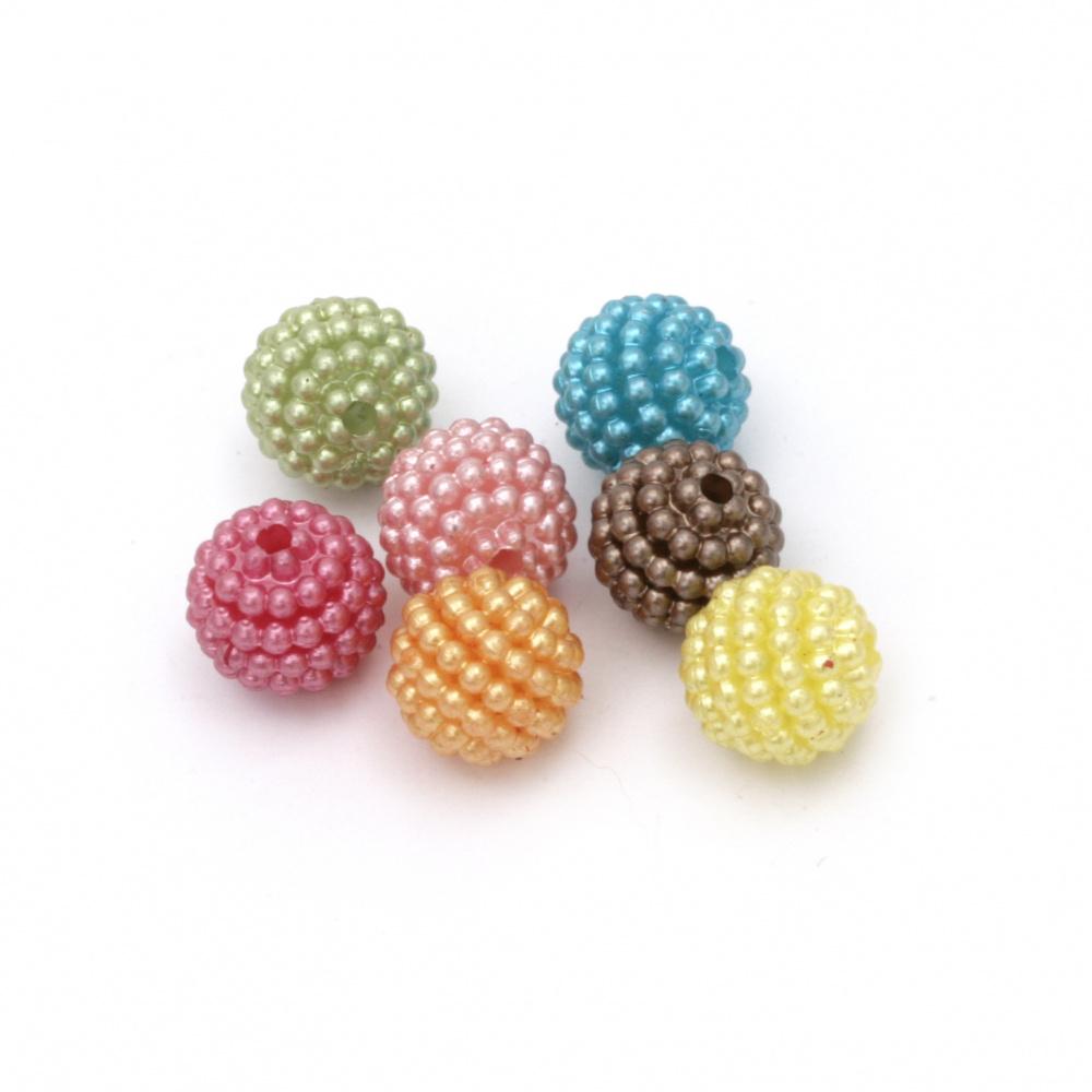 Mărgelă perlata ascuțită 10x10 mm gaură 1 mm amestec de culori -20 grame ~ 56 bucăți
