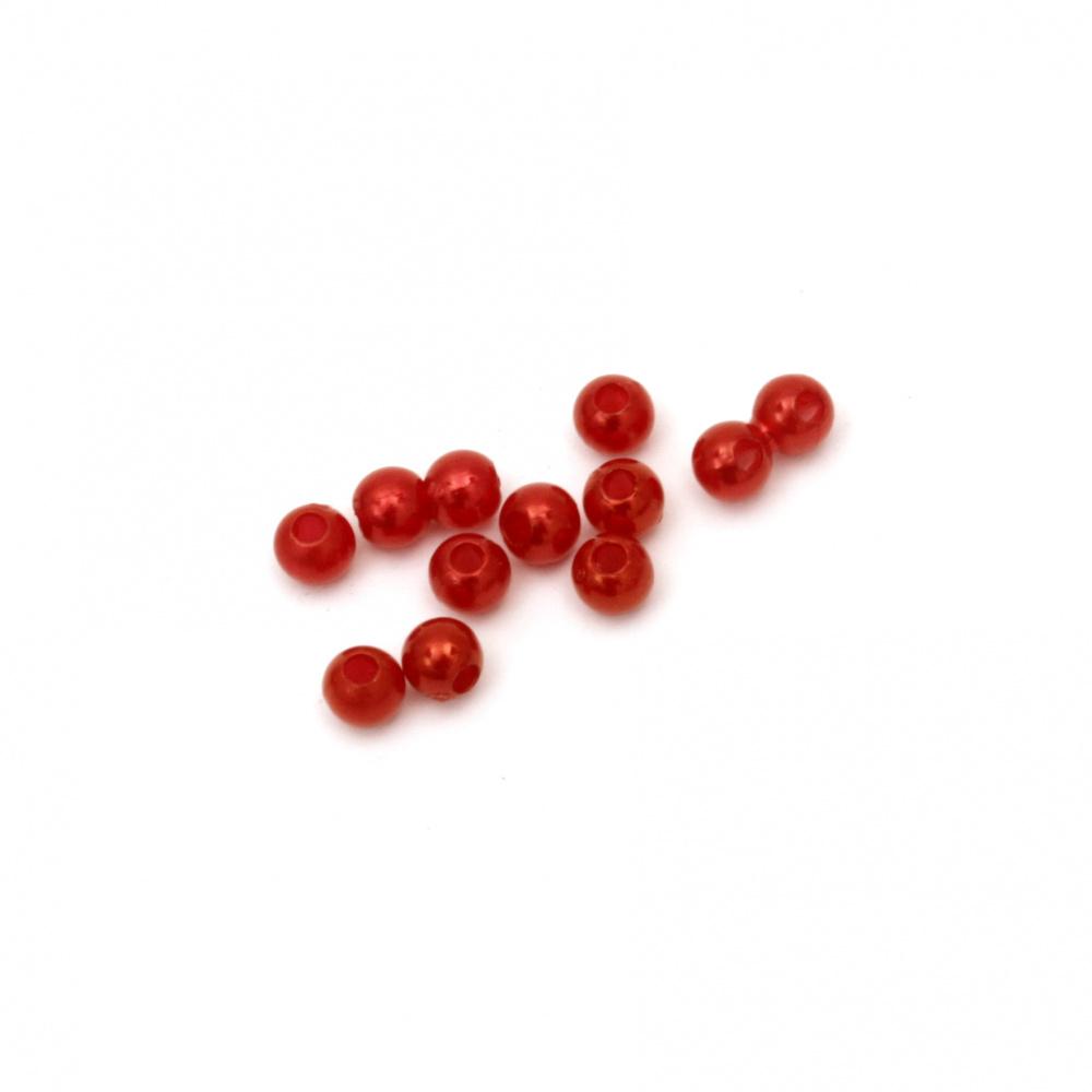 Στρόγγυλη χάντρα απομίμηση μαργαριτάρι 4 mm τρύπα 1 mm mm κόκκινο -20 γραμμάρια ~ 745 τεμάχια