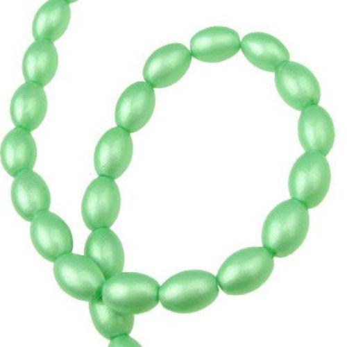 Наниз мъниста стъкло овал 11x8x8 мм дупка 1 мм зелен ~80 см ~72 броя