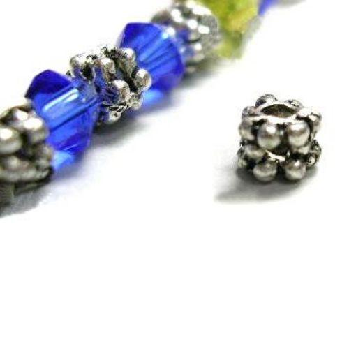 Margele metalice gaură 3x4 mm 1 mm culoare argintiu -20 bucăți