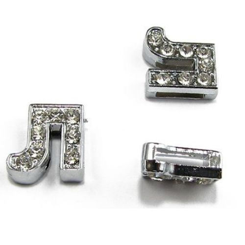 Metal Cyrillic letter Л with tiny crystals for DIY jewelry findings hole 8 mm