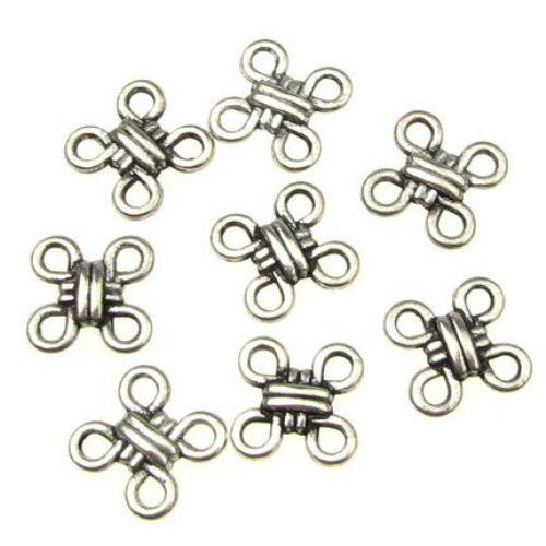 Element împletitură metalică 12 mm gaură 1,5 mm argintiu -20 bucăți