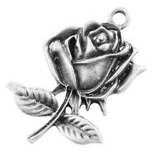 Висулка метална роза 25.5x17.5x3 мм дупка 1.5 мм цвят сребро -10 броя