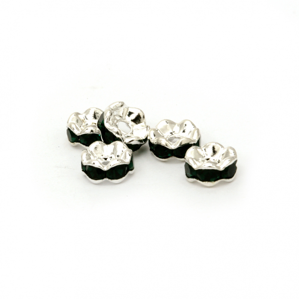 Metal washer with green dark crystals 6x3 mm hole 1 mm (quality A) color white -10 pieces