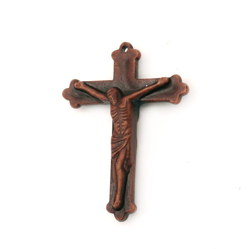 Pandantiv imitație cruce lemn 56x41 mm maron -50 grame