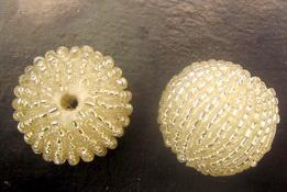 Σφαίρα 25 mm επιστρωμένη με ασημένιες χάντρες - 10 τεμάχια