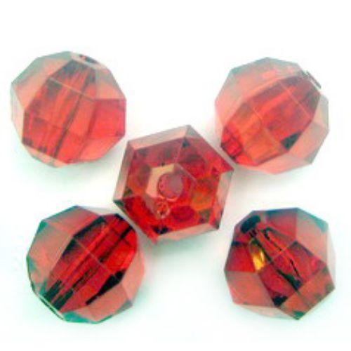 Χάντρα απομίμηση κρύσταλλο 20 mm με κόκκινο -50 γραμμάρια