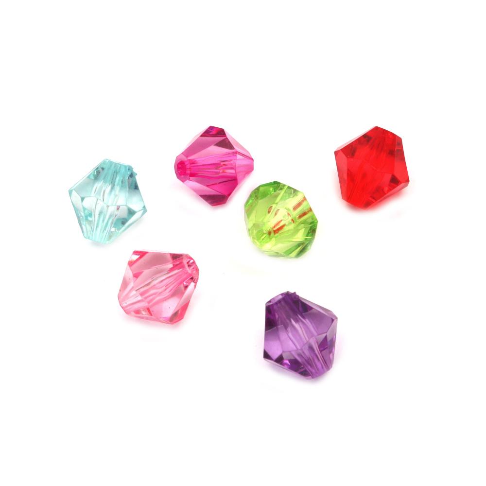 Χάντρα απομίμηση κρύσταλλο 14x14 mm τρύπα 2 mm MIX -50 γραμμάρια ~ 47 τεμάχια