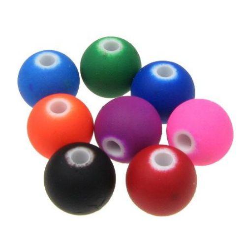 Χάντρα παστέλ μπάλα 10 mm τρύπα 2 mm MIΞ -20 γραμμάρια ~ 35 τεμάχια