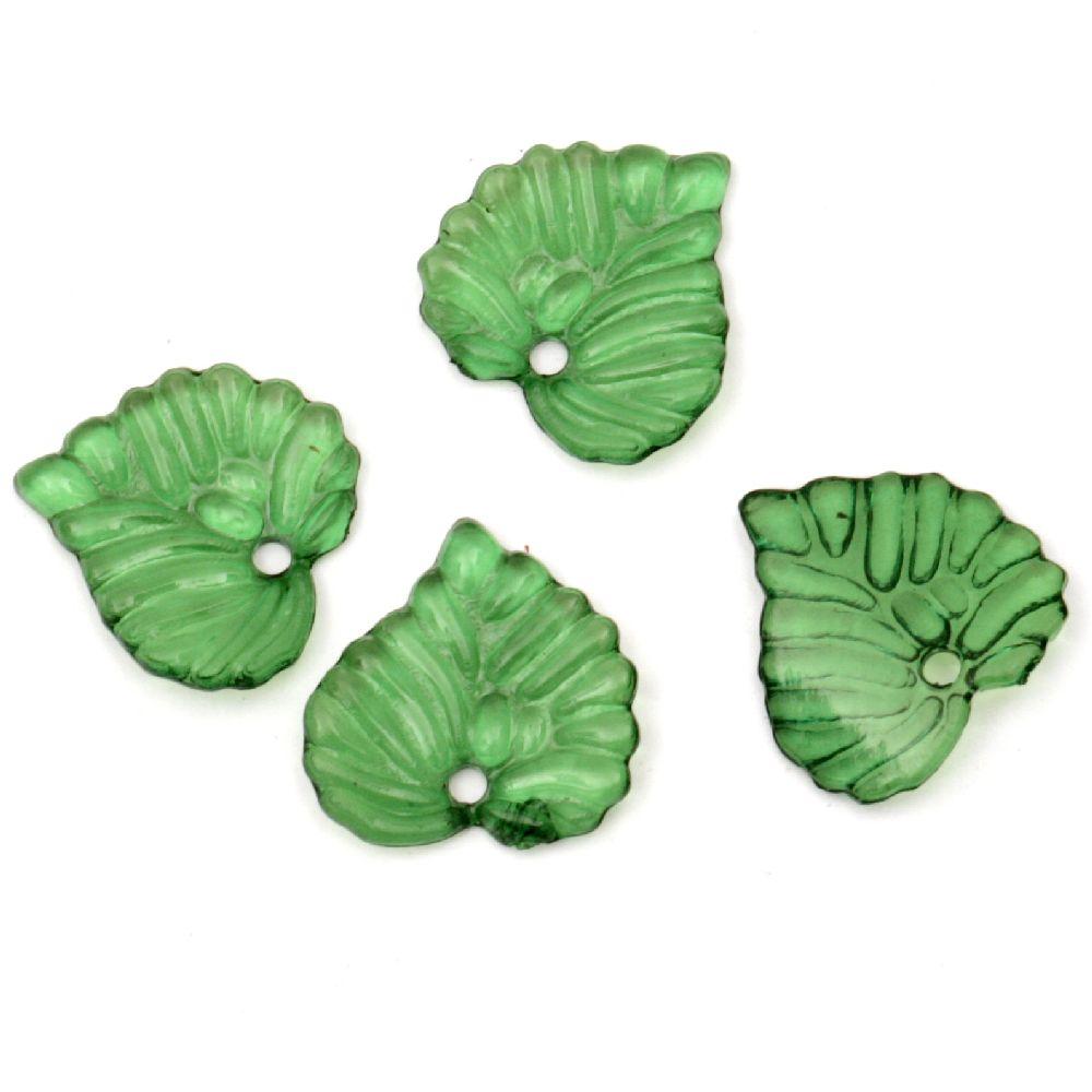 pandativ forma frunză de cristal  15x15x2 mm gaură 15 mm verde -50 grame ~ 200 bucăți