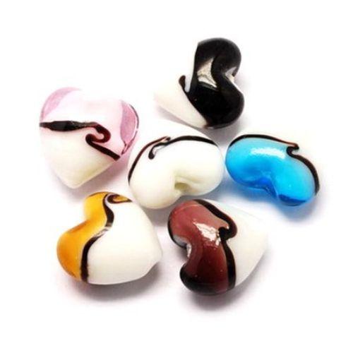 Margele  sticla forma  inimă Murano 20x20x13 mm 1,5 mm MIX -5 bucăți